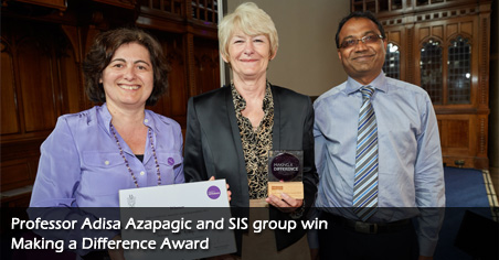 Professor Adisa Azapagic and SIS group win Making a Difference Award